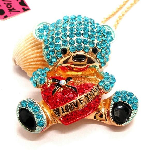 Betsey Johnson Jewelry - Cute Bear Love Rhinestone Necklace